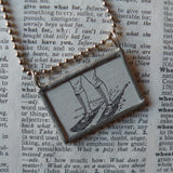 Snowshoes, vintage dictionary black and white illustration upcycled to soldered glass pendant