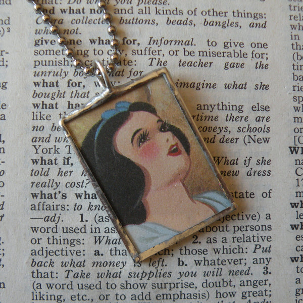 Snow White, vintage illustrations, up-cycled to soldered glass pendant