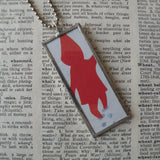 Snowy Day, vintage children's book illustration, upcycled to soldered glass pendant
