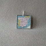 Spain, map from vintage atlas, hand-soldered glass pendant