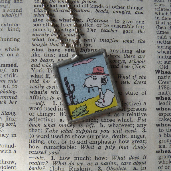 Snoopy's cousin Spike, vintage comic illustrations, upcycled to soldered glass pendant