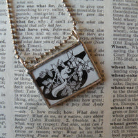 1Little gnome and squirrel, vintage children's book illustrations, hand-soldered glass pendant