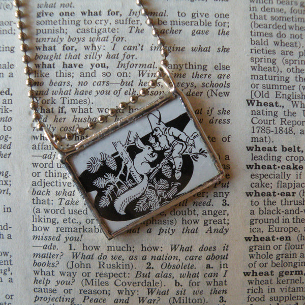 Little gnome and squirrel, vintage children's book illustrations, hand-soldered glass pendant