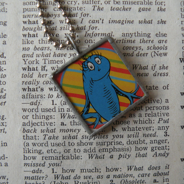 One Fish, Two Fish, vintage children's book illustrations, upcycled to soldered glass pendant