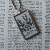 Stapelia cactus succulent plant, vintage botanical dictionary illustration, up-cycled to soldered glass pendant