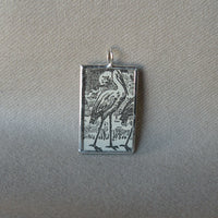 Crane, stork, egret, heron, vintage children's book illustration, upcycled to soldered glass pendant