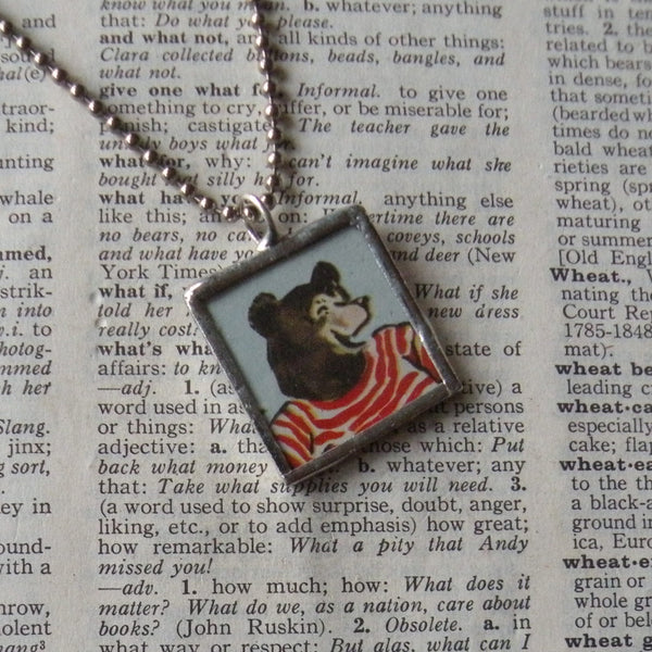 Bears, vintage children's book illustrations, up-cycled to soldered glass pendant