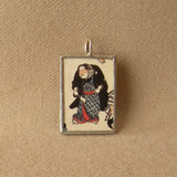 Sumo wrestler, Japanese woodblock print, upcycled to soldered glass pendant