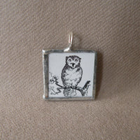 Art Deco owl and sun, vintage illustrations, up-cycled to 2-sided, hand-soldered glass pendant1