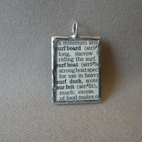 1Surfboard, surfer, surfing, vintage dictionary illustration, hand-soldered glass pendant