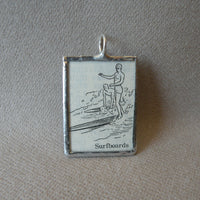 Surfboard, surfer, surfing, vintage dictionary illustration, hand-soldered glass pendant