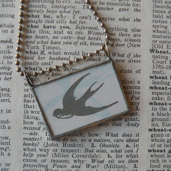 Swallow bird, flowers, vintage illustration, up-cycled to soldered glass pendant