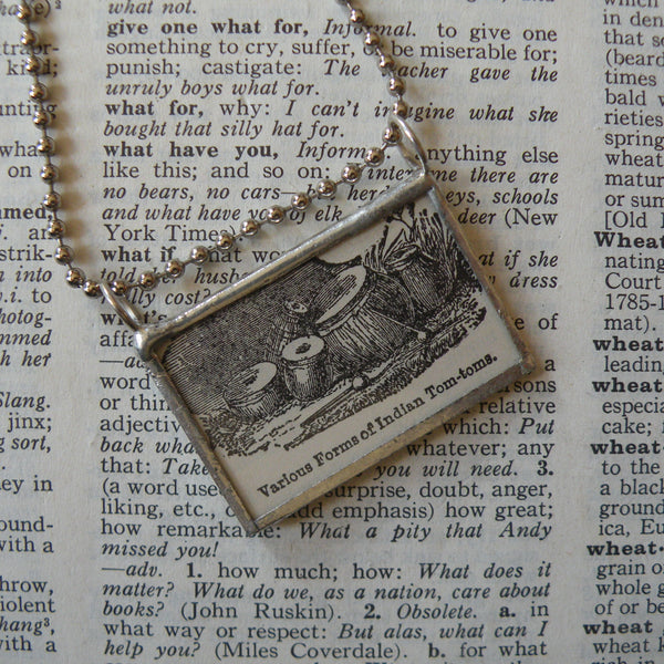 Indian Tabla Drums, Vintage 1930s dictionary illustration, up-cycled to hand soldered glass pendant