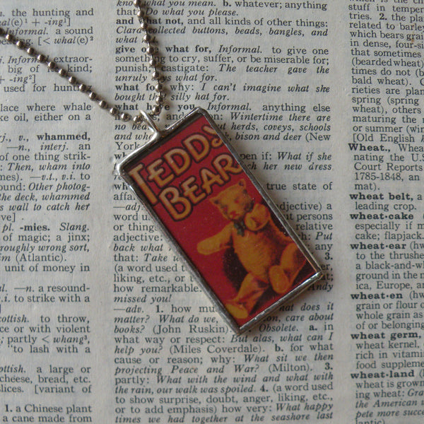 Teddy Bear, vintage advertising illustration, up-cycled to soldered glass pendant
