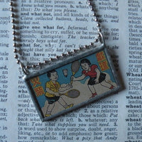Children playing badminton or tennis, vintage Chinese advertising illustration, upcycled to soldered glass pendant