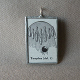 Tenpins bowling, vintage dictionary illustration, hand-soldered glass pendant