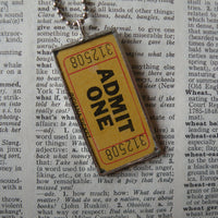 Admit one, vintage tickets, upcycled to soldered glass pendant