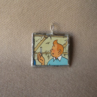 Tintin and Captain Haddock, original vintage 1960s book illustrations, upcycled to soldered glass pendant