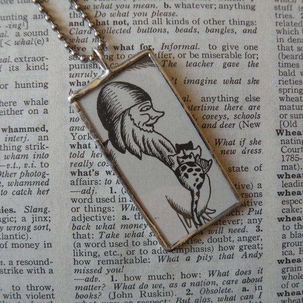 Too Many Cats, vintage children's book illustration up-cycled to soldered glass pendant