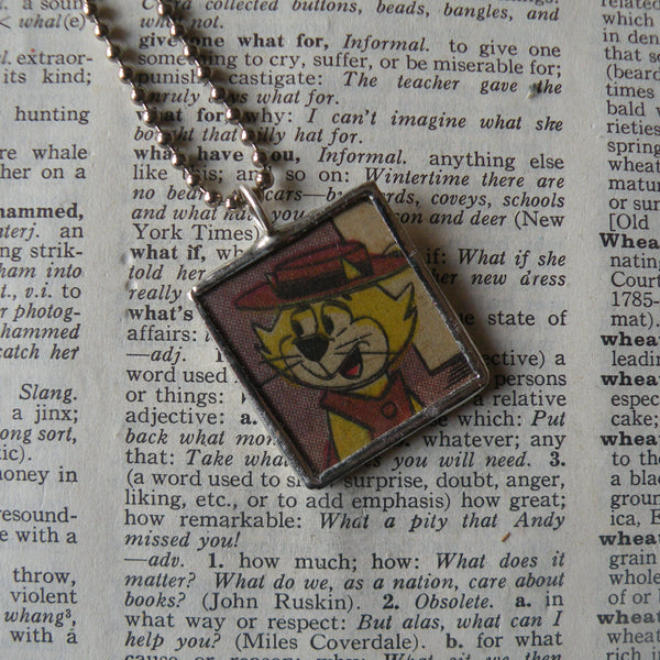 Top Cat, original vintage 1970s comic book illustrations, upcycled to soldered glass pendant
