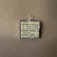 Tortoise, turtle, vintage dictionary illustration up-cycled to hand-soldered glass pendant