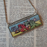 R. Crumb Truckin' illustrations from vintage postcard, upcycled to soldered glass pendant