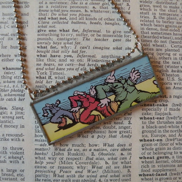 1R. Crumb Truckin' illustrations from vintage postcard, upcycled to soldered glass pendant