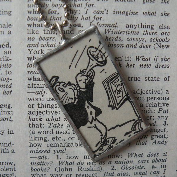 Lion playing trumpet, boy with pie, vintage children's book illustrations, soldered glass pendant
