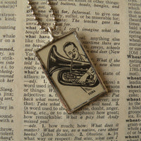 Tuba, music, musician, vintage dictionary illustration up-cycled to soldered glass pendant