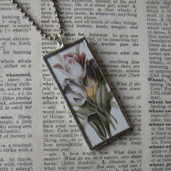 Tulip, flowers, vintage botanical illustration, hand-soldered glass pendant