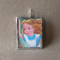 Alice in Wonderland, original illustrations from vintage book, up-cycled to soldered glass pendant