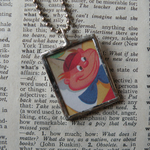 1Alice in Wonderland, original illustrations from vintage book, up-cycled to soldered glass pendant