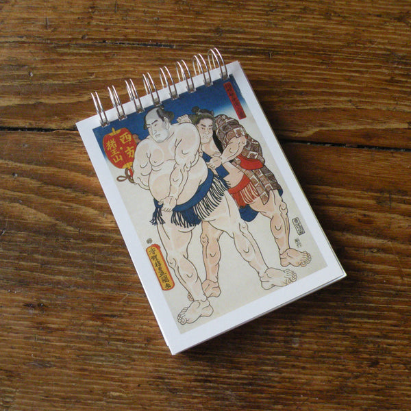 Sumo Wrestlers, Japanese woodblock print postcard, up-cycled to wire-bound sketchbook / journal