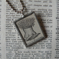 Actinia, sea anemones, vintage 1940s dictionary illustration, up-cycled to hand soldered glass pendant