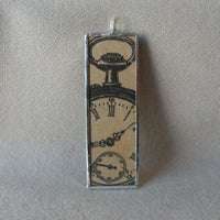 Antique pocket watch, clock, vintage illustrations upcycled to soldered glass pendant