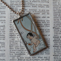 Water babies, vintage 1930s children's book illustration up-cycled to soldered glass pendant