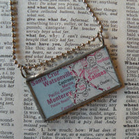 Santa Cruz, Monterey, California, vintage road map up-cycled to hand soldered glass pendant