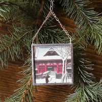 Temple in snow, vintage Japanese woodblock print image, upcycled to hand-soldered glass Christmas tree ornament