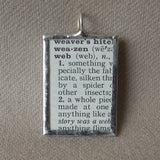 Spider's web, vintage dictionary illustration up-cycled to soldered glass pendant
