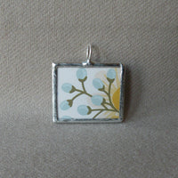 Foxglove, Queen Anne's Lace, botanical illustrations, 2-sided,  hand-soldered glass pendant