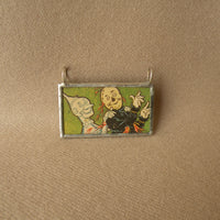 Wizard of Oz, vintage children's book illustration up-cycled to soldered glass pendant