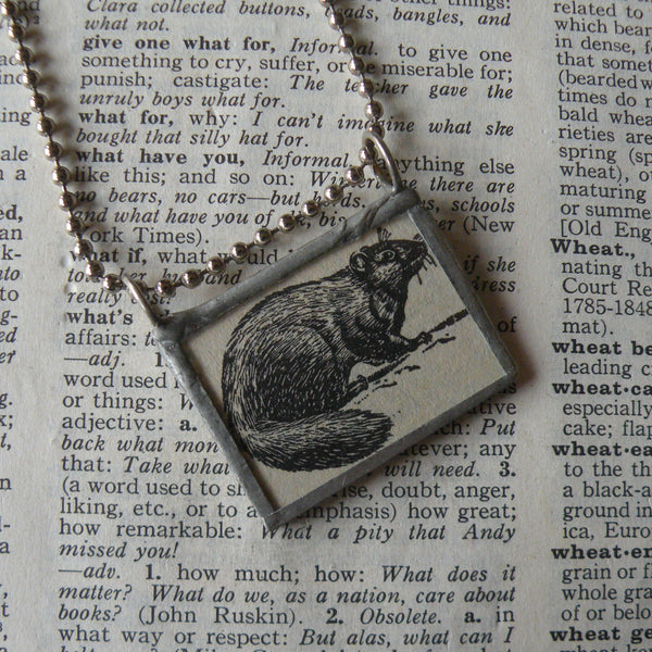 Woodchuck, vintage 1940s dictionary illustration, up-cycled to hand-soldered glass pendant