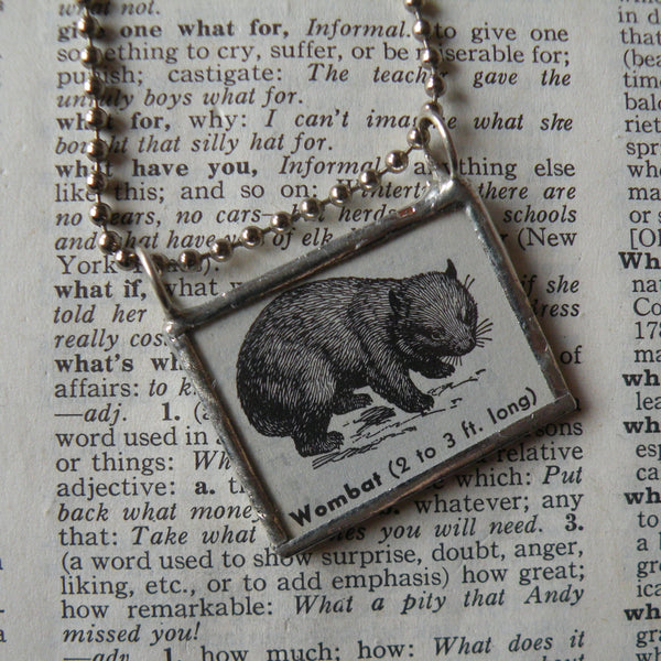 Wombat, vintage illustration, up-cycled to hand-soldered glass pendant, includes choice of necklace