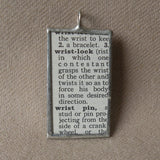 Wrestling, double wristlock, vintage dictionary illustration, hand-soldered glass pendant
