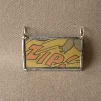Whoopee! onomatopoeia, vintage comic book illustration, upcycled to soldered glass pendant