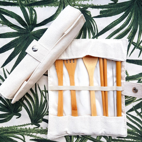 Bamboo Cutlery Set with Cotton Pouch