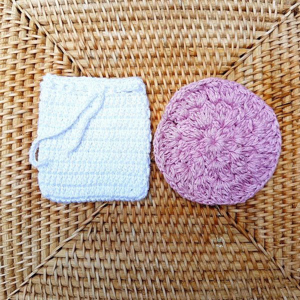 [Bundle] Cotton Face Scrub Pad & Soap Pouch (Save 15%!)