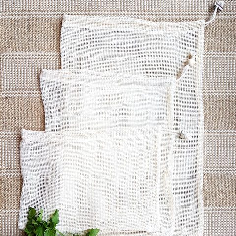 Set of 3 Raw Cotton Produce Bags (S, M & L)