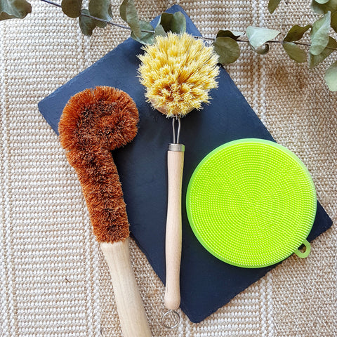 [Bundle] Coconut Bottle Brush, Sisal Dishwashing Brush & Silicone Sponge