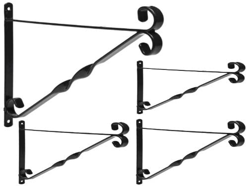 "DIVCHI Pack of 4 Garden Hanging Basket Metal Wall Bracket - Twisted - UP TO 12"" Baskets (12-Inch, Black)"